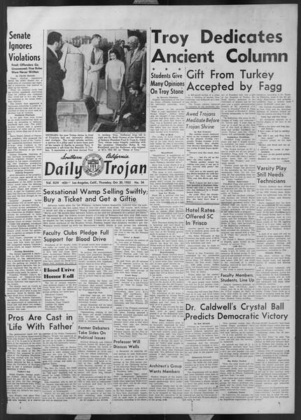 Daily Trojan, Vol. 44, No. 34, October 30, 1952