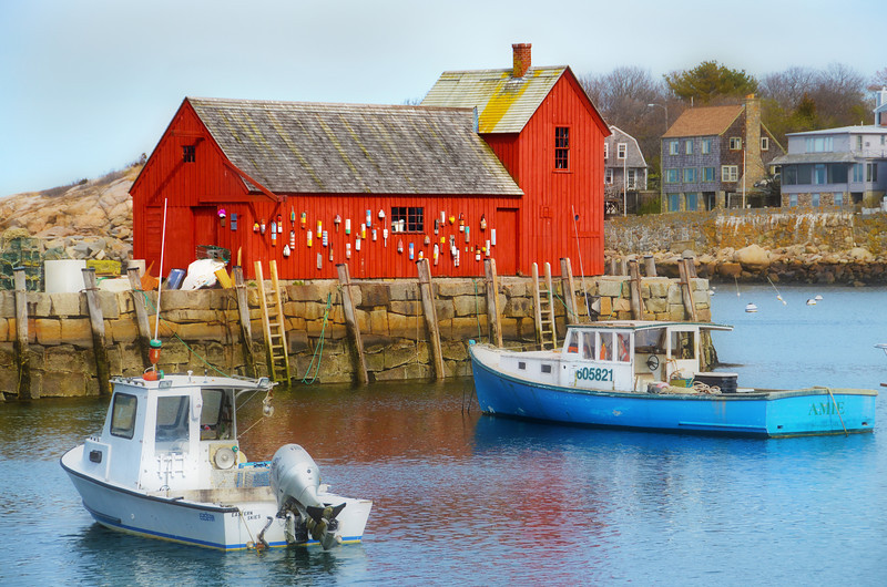 """2012-4-14 ––– Day 8 in Boston: Today we went north to Cape Ann, about 30 miles from Boston. We had lunch in Gloucester then continued on to Rockport. I was in search of the stereo typical post card fishing village and found it here. Earlier in the day I saw a picture of this red boat house in a shop, and even pointed to it and told Lisa, """"I want to take a picture like this."""" Well I got it in Rockport."""