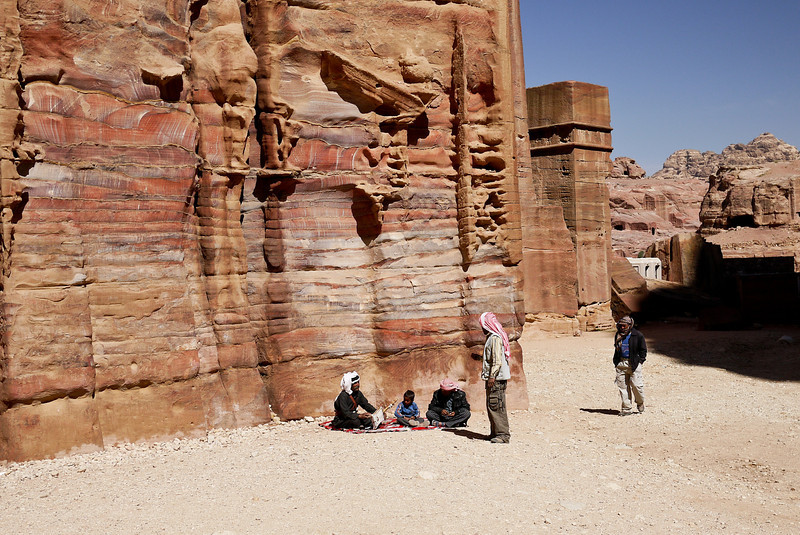 Bedouin still use the streets and alleyways of Petra, Jordan throughout the day.