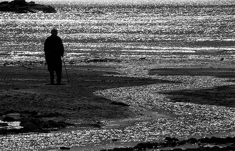 Woman on beach, B&W