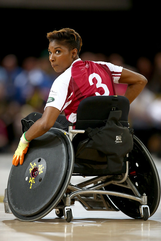 . Denise Lewis takes part in the Jaguar Land Rover Exhibition Wheelchair Rugby match during Day Two of the Invictus Games at the Olympic Park on September 12, 2014 in London, England.  (Photo by Jordan Mansfield/Getty Images for Invictus Games)