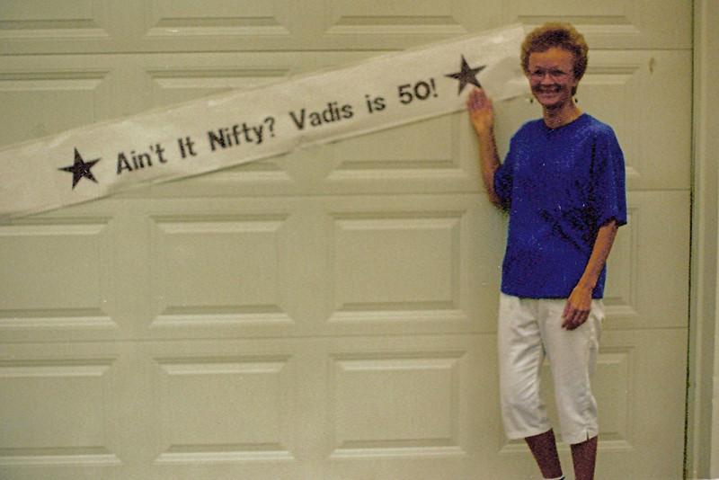 1989-09-06 - 50th BD Surprise - banner posted on garage door