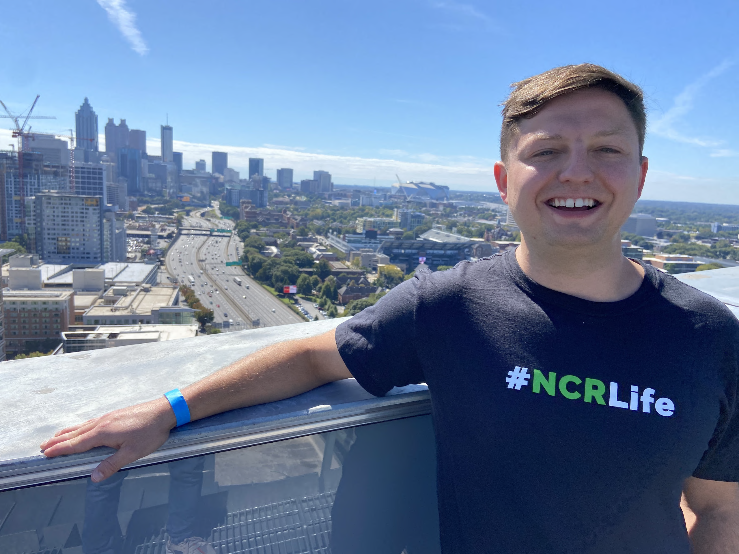 Brent Zucker, '16, is pictured at the top of the NCR Corporation building in Atlanta.