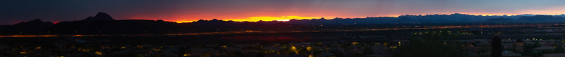 Desert Sunset with Mountains and Clouds Panorama