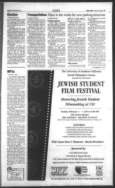 Daily Trojan, Vol. 142, No. 14, January 30, 2001