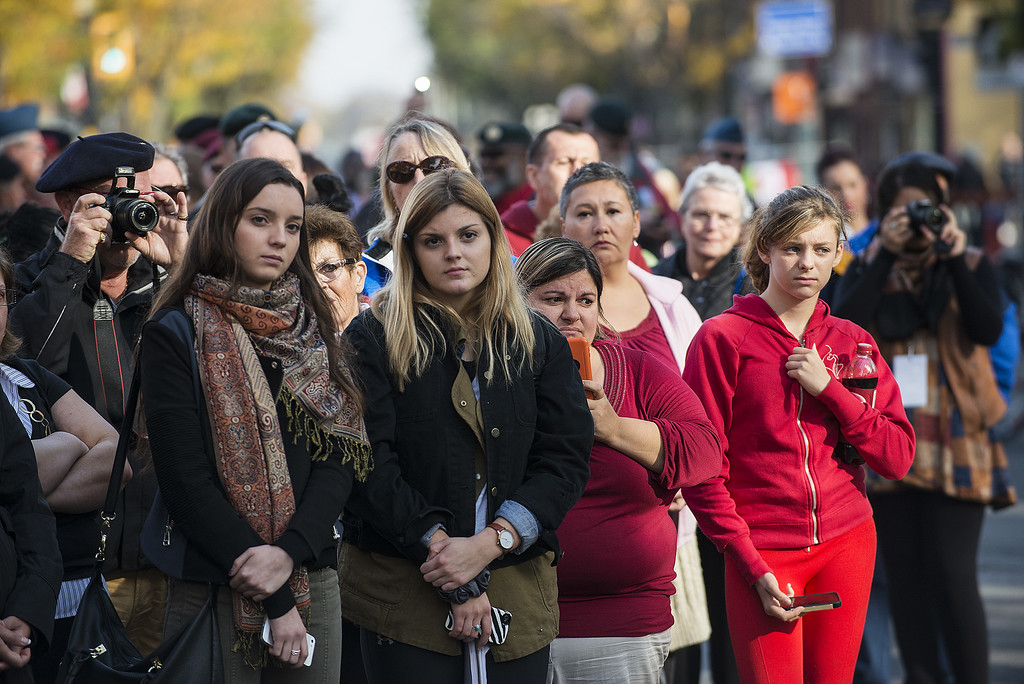 . Hamilton, CANADA- October 28:  Members of the public mourn during the funeral procession for Cpl. Nathan Cirillo at the Christ\'s Church Cathedral on October 28, 2014 in Hamilton, Ontario, Canada.   (Photo by Aaron Vincent Elkaim/Getty Images)