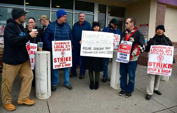 4/12/2019 Mike Orazzi | Staff Farmington Avenue Stop & Shop workers while on strike Friday afternoon in Bristol.