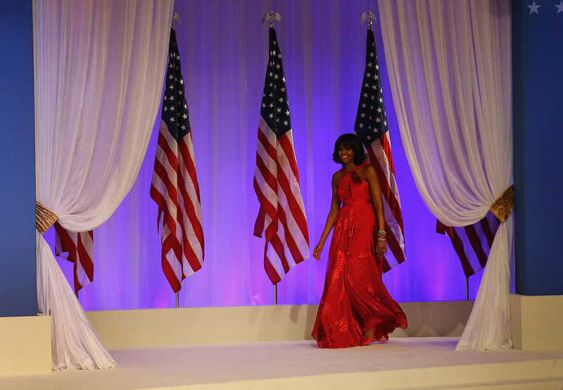 . First lady Michelle Obama joins U.S. President Barack Obama at the Commander-In-Chief\'s Inaugural Ball January 21, 2013 in Washington, DC. Obama was sworn in today for his second term in a public ceremonial swearing in.  (Photo by Joe Raedle/Getty Images)