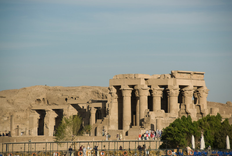 Shot of the Temple of Kom Ombo across the Nile River - Komombo, Egypt