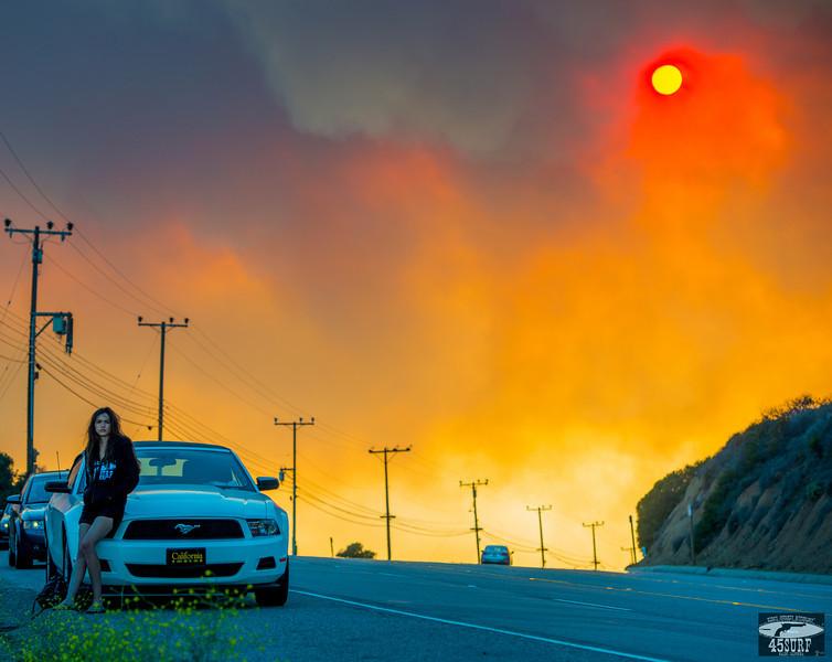 Fire! Red Sun in Orange Grey Smoke: Malibu / Ventura Wildfire May 2013 Stills & Video