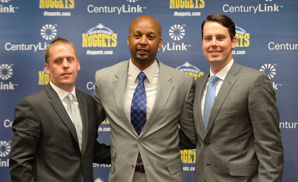 . The Denver Nuggets Executive VP of Basketball operations Tim Connelly and President Josh Kroenke with new head coach Brian Shaw June 25, 2013 during a press conference  at Pepsi Center. (Photo By John Leyba/The Denver Post)