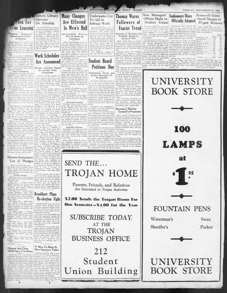 Daily Trojan, Vol. 24, No. 8, September 20, 1932