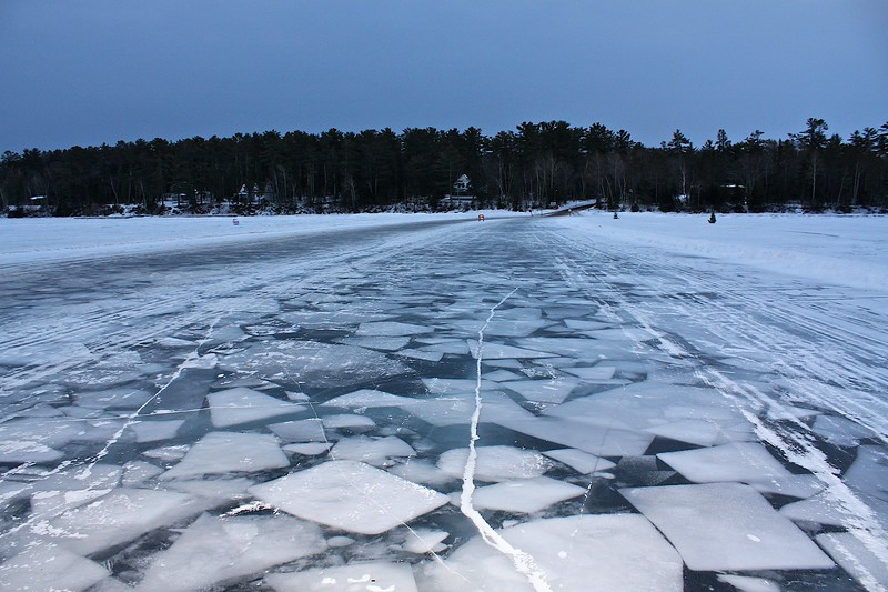This is the ice road just before Madeline Island. Fascinating how this froze up.