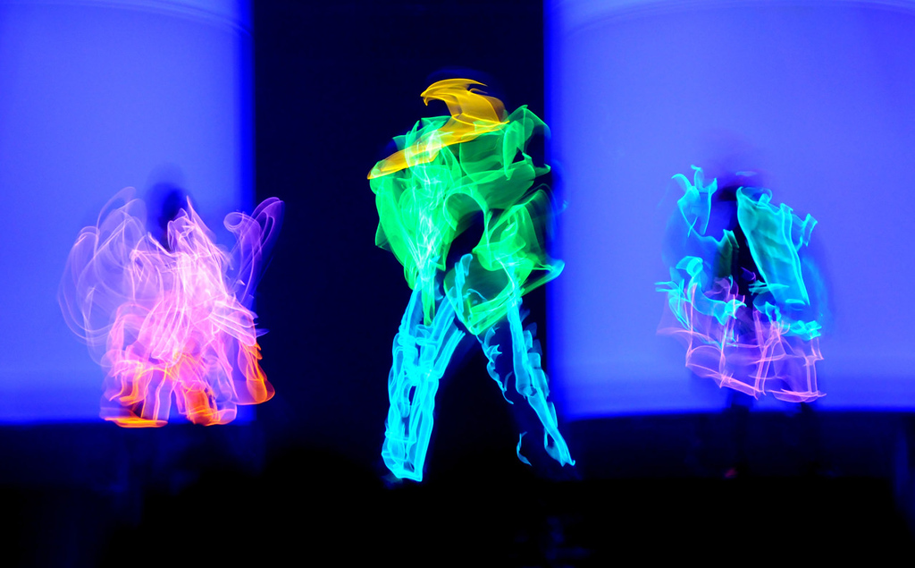 . Dancers wear outfits from Macy\'s mstylelab department lined with electro-luminescent wire during the dress rehearsal for the annual Macy\'s Glamorama. (Pioneer Press: Jean Pieri)