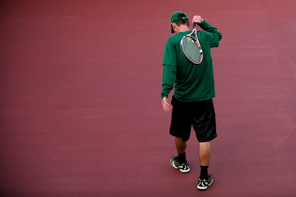 . DENVER, CO. - OCT 12:   Mountain Vista player Ben Antonsen walks across court during his play time against Cherry Creek\'s Connor McPherson. Antonsen lost to McPherson in the #2 singles match during the final day of the 5A Boys\' Tennis Championships at Gates Tennis Center on Oct. 12, 2013.  (Photo By Erin Hull/The Denver Post)