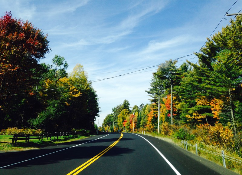 two-lane road with orange and gold fall foliage