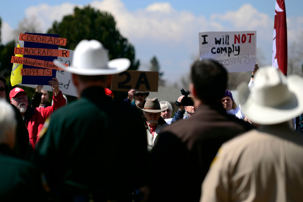 . DENVER, CO - APRIL 3: Sheriffs from around the state gathered to speak out against gun control before President Barack Obama was set to give a speech at the Denver Police Academy about a mile away. (Photo by AAron Ontiveroz/The Denver Post)