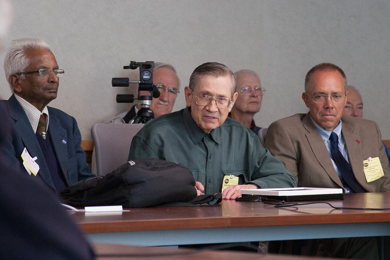 Alfred Stephens, Bob Streitmatter, Steve Stochaj  (in back, Don Righter, Bob Smith, Bill Daniels) -- Symposium in Honor of Bob Streitmatter, NASA/Goddard Space Flight Center, April 30, 2014