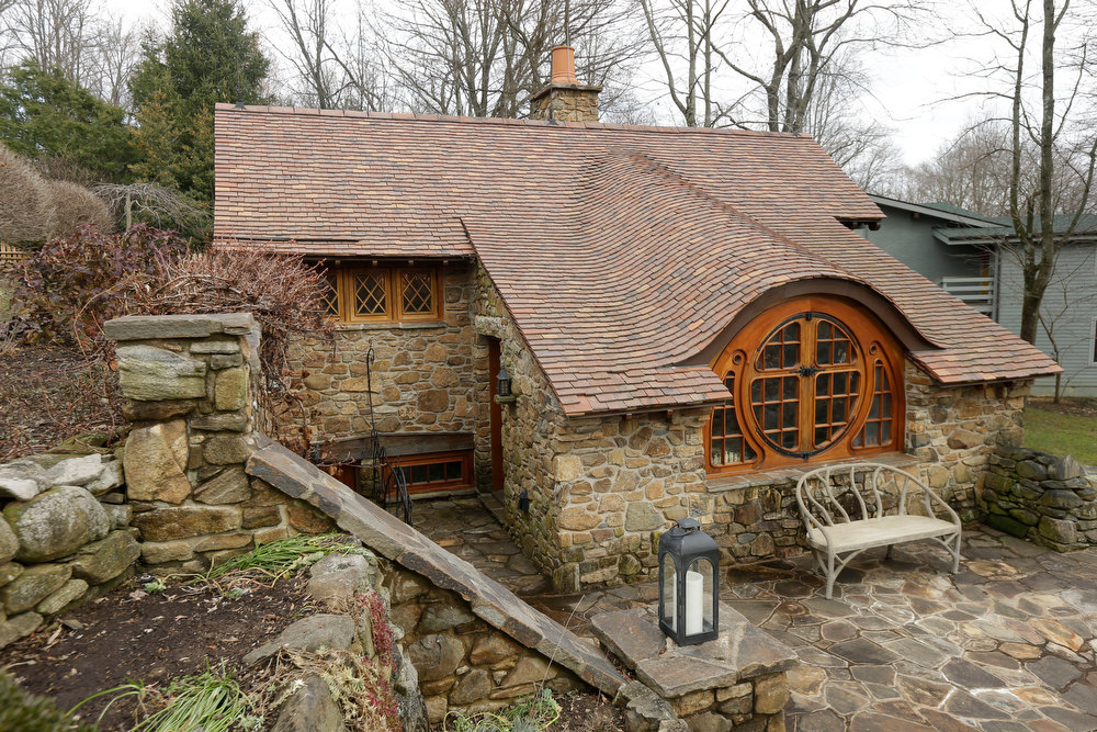 Description of . Shown is an exterior view of the ìHobbit Houseî Tuesday, Dec. 11, 2012, in Chester County, near Philadelphia. Architect Peter Archer has designed a ìHobbit Houseî containing a world-class collection of J.R.R. Tolkien manuscripts and memorabilia.(AP Photo/Matt Rourke)