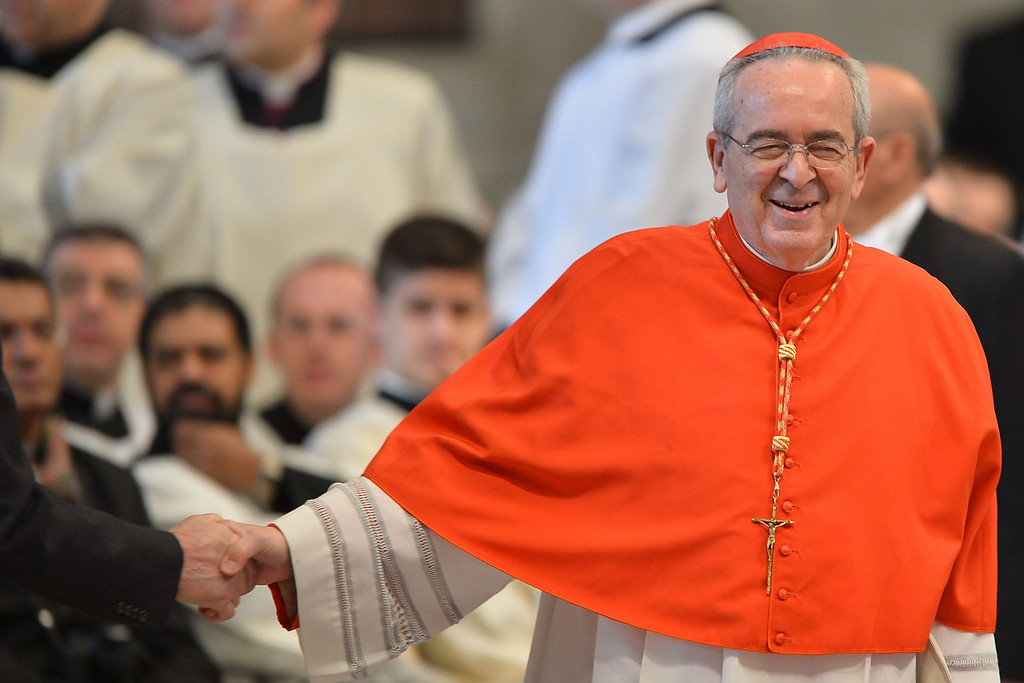 . US cardinal Justin Francis Rigali (R) attends a mass at the St Peter\'s basilica before the conclave on March 12, 2013 at the Vatican.  AFP PHOTO / GABRIEL BOUYS/AFP/Getty Images