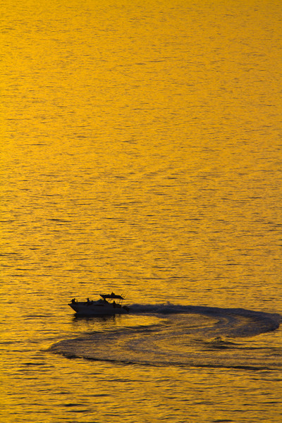 Single Boat On Persian Gulf At Sunset, Dubai, United Arab Emirates