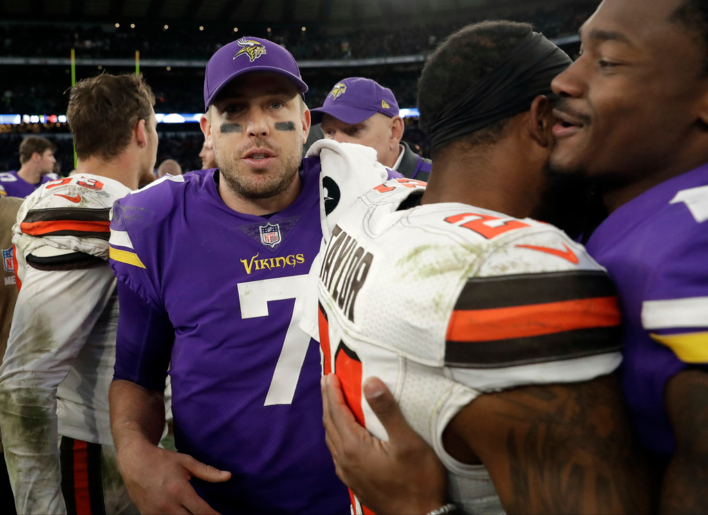 . Minnesota Vikings quarterback Case Keenum (7) leaves the field after an NFL football game against Cleveland Browns at Twickenham Stadium in London, Sunday Oct. 29, 2017. The Vikings won 33-16. (AP Photo/Matt Dunham)
