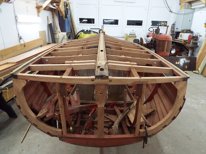Rear view of the all the new bottom frames installed along with new transom framing. New keel is next.