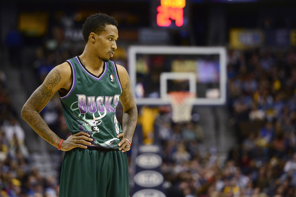 . DENVER, CO - FEBRUARY 5: Brandon Jennings Milwaukee Bucks (3) takes a moment as the Nuggets pull away during the second half of action. The Denver Nuggets defeat the Milwaukee Bucks 112-104 in NBA action at the Pepsi Center. (Photo By AAron Ontiveroz/The Denver Post)