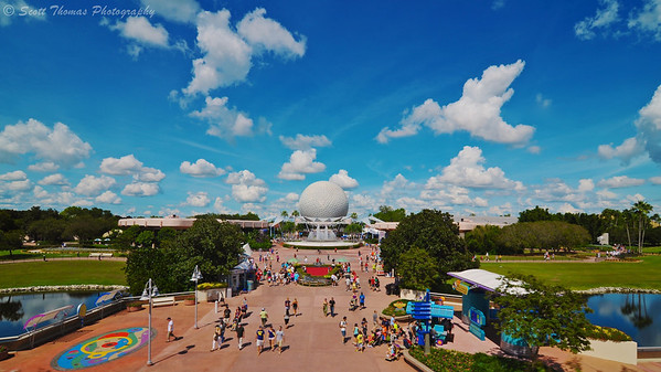 Future World from the monorail over Epcot in Walt Disney World, Orlando, Florida.