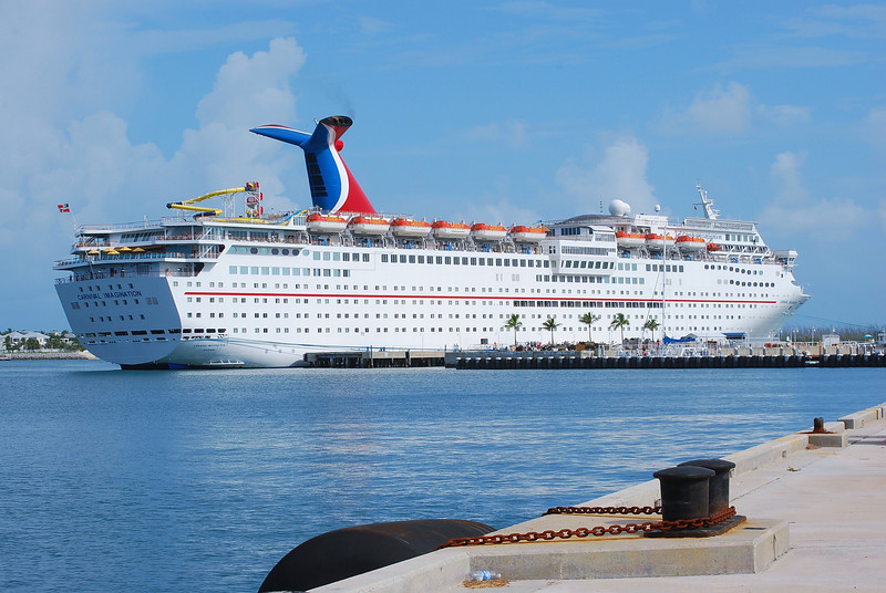 The Carnival Imagination cruiseship stopping for its weekly day stop.