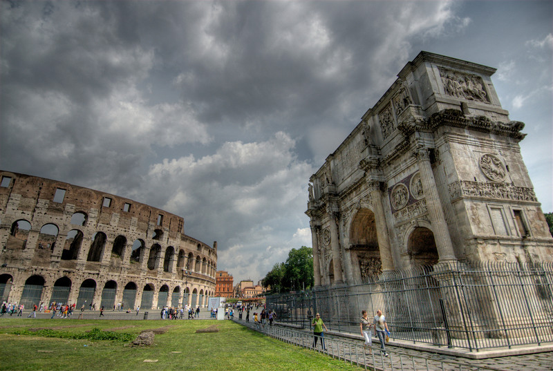 The Colosseum and Arch in Rome, Italy