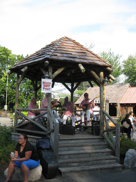 The Dixie Hot Four were playing in the Olde Canobie Village gazebo.