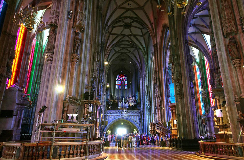 St. Stephen's Cathedral inside. Temporary tinted light panels were placed over the windows for a TV special, which allowed this unusual color photo to be possible.