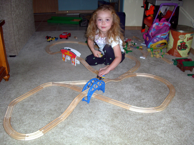 Our large train track with bridges and everything.