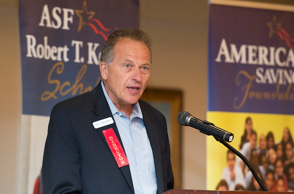 08/07/19 Wesley Bunnell | Staff The American Savings Foundation held their annual dinner on Wednesday August 8, 2019 at the Aqua Turf in Southington to honor the 281 recipients of the Robert T. Kennedy Scholarship awarded by the foundation. Director Charles Boulier III addresses the audience.