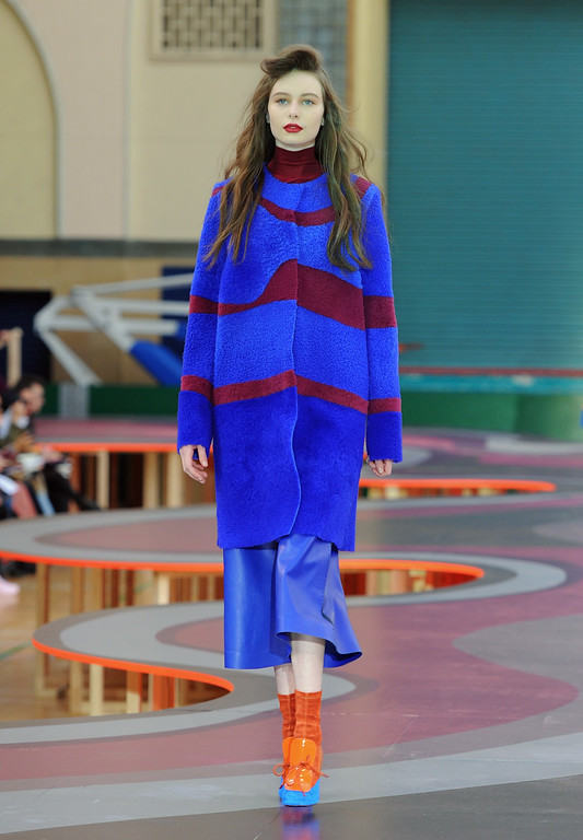 . A model walks the runway at the Roksanda show during London Fashion Week Fall/Winter 2015/16 at Seymour Hall on February 23, 2015 in London, England.  (Photo by Eamonn M. McCormack/Getty Images)