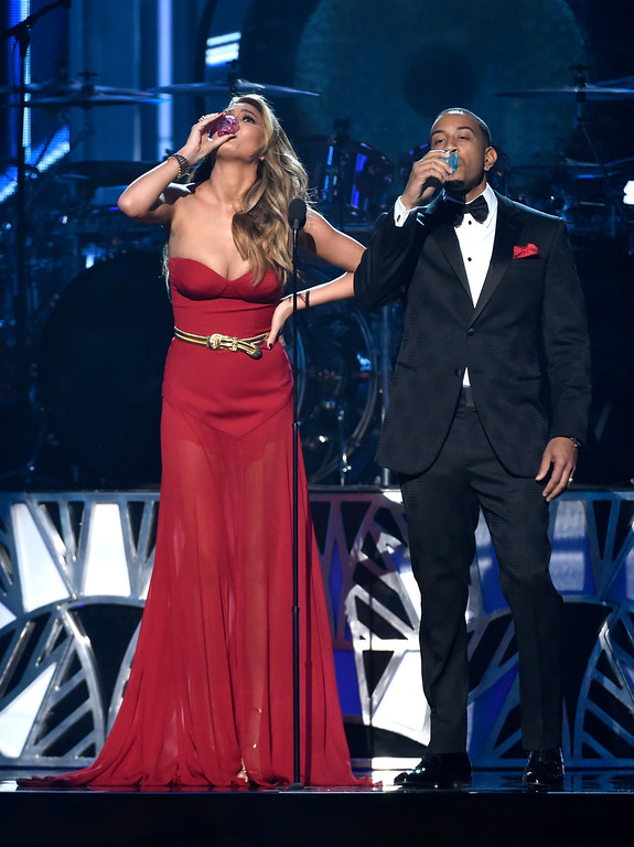 . Hosts Chrissy Teigen, left, and Ludacris onstage at the Billboard Music Awards at the MGM Grand Garden Arena on Sunday, May 17, 2015, in Las Vegas. (Photo by Chris Pizzello/Invision/AP)