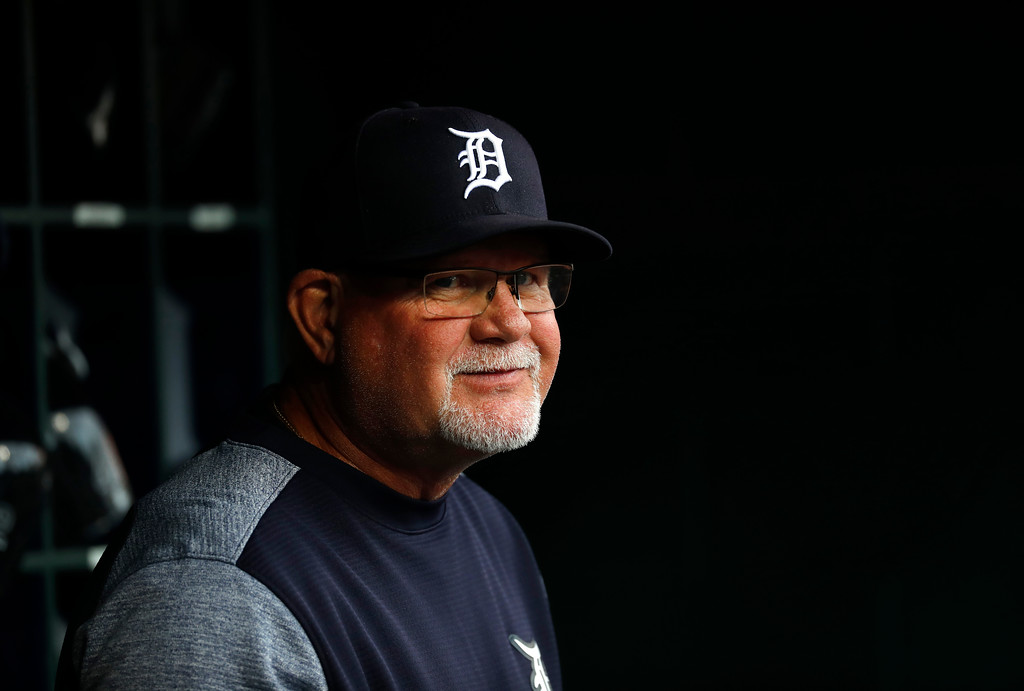 . Detroit Tigers manager Ron Gardenhire watches against the Cleveland Indians in the first inning of a baseball game in Detroit, Friday, July 27, 2018. (AP Photo/Paul Sancya)
