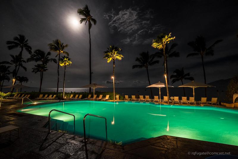 Maui poolside by moonlight