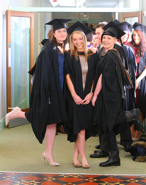 Waterford Institute Of Technology Conferring. Pictured at WIT Waterford Institute Of Technology Conferring are Sinead Doyle, Enniscorthy, Co Wexford, Emma Dowling, Carlow, Claire Collins,  Waterford who graduated Bachelor of Arts (Hons) in Health Promotion. Picture: Patrick Browne