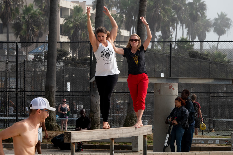 Trying to learn balance in Muscle Beach.