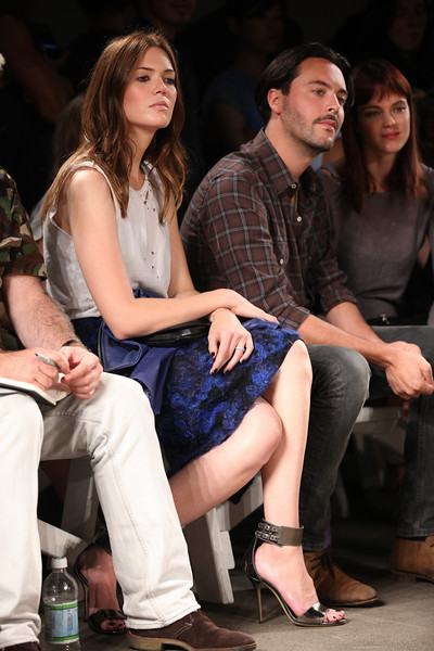 NEW YORK, NY - SEPTEMBER 07:  (L-R) Actress / singer Mandy Moore, actor Jack Huston and model Shannan Click attend Billy Reid's spring 2013 fashion show during Mercedes-Benz Fashion Week at Eyebeam on September 7, 2012 in New York City.  (Photo by Chelsea Lauren/Getty Images)