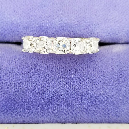 1.20ctw August Vintage Cushion Five Stone Band - F - H, VVS1 - SI1