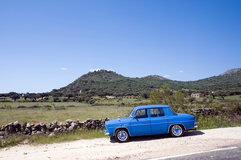 An old Renault 8 in the countryside, Caceres, Spain