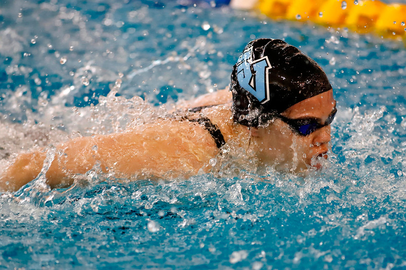 Julia Listwak, Seneca Valley, 200 IM relay swimming butterfly. WPIAL Championships at University of Pittsburgh Thursday. Seb Foltz/Butler Eagle 02/27/20
