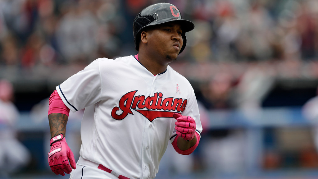 . Cleveland Indians\' Jose Ramirez runs the bases after hitting a three run home run off Kansas City Royals starting pitcher Danny Duffy in the second inning of a baseball game, Sunday, May 13, 2018, in Cleveland. Rajai Davis and Michael Brantley scored on the play. (AP Photo/Tony Dejak)