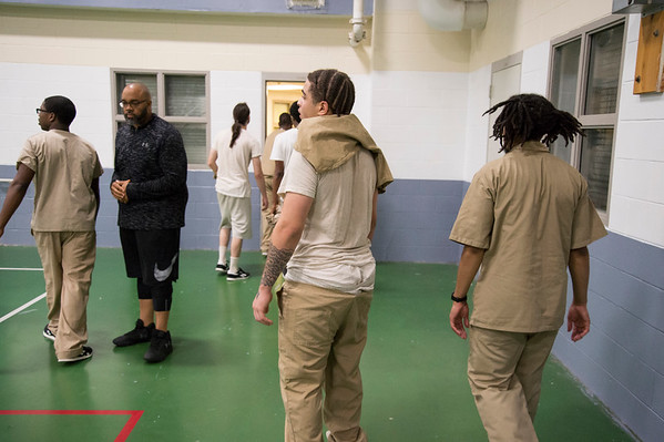08/14/19 Wesley Bunnell | StaffrrThe Manson Youth Institution is implementing a basketball league, based off the New Britain Legacies Youth Development & Basketball Program, for inmates aged 14 to 21 to have a chance to play organized basketball with the qualification that inmates abide by the strict rules of the facility. Inmates prepare to leave the gymnasium at the conclusion of their tryout. r