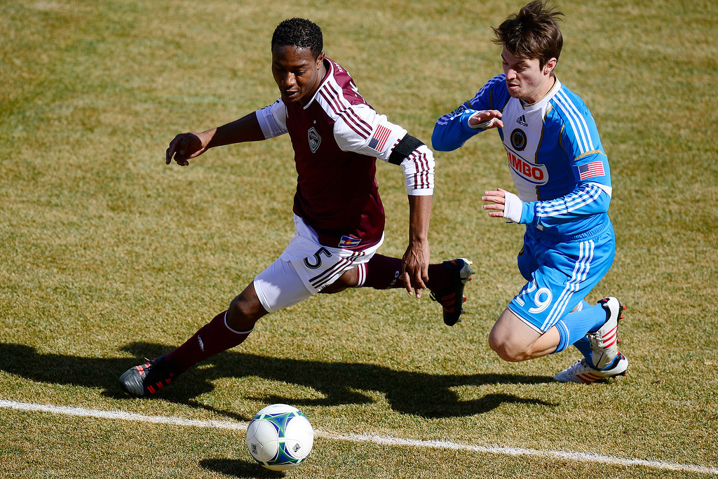 . COMMERCE CITY, CO - MARCH 10: Jose Calderon (5) of the Colorado Rapids and Antoine Hoppenot (29) of the Philadelphia Union vie for a ball during the second half of action. The Colorado Rapids lose 2-1 to the Philadelphia Union at Dick\'s Sporting Goods Park. (Photo By AAron Ontiveroz/The Denver Post)