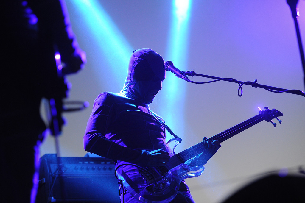 . The Locust\'s bassist Justin Pearson performs at FYF Fest in downtown L.A., Saturday, August 24, 2013. (Michael Owen Baker/L.A. Daily News)