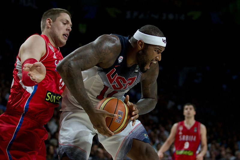 . DeMarcus Cousins (R) of the USA competes for the rebound Vladimir Stimac (L) of Serbia during the 2014 FIBA World Basketball Championship final match between USA and Serbia at Palacio de los Deportes on September 14, 2014 in Madrid, Spain. (Photo by Gonzalo Arroyo Moreno/Getty Images)